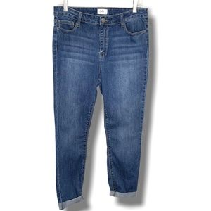 CELLO HIGH RISE CROP SKINNY JEANS TURNED UP HEM